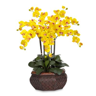 Nearly Natural Large Phalaenopsis Silk Flower Arrangement in Yellow