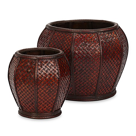 Nearly Natural Rounded Weave Decorative Planters (Set of 2)
