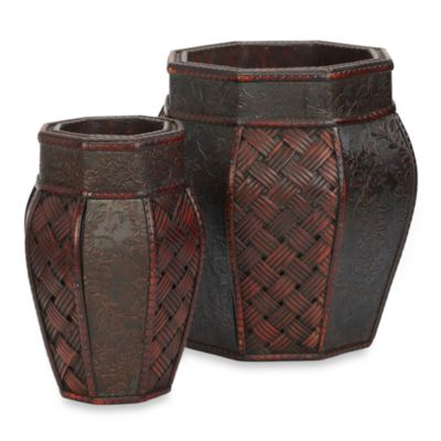 Nearly Natural Design and Weave Panel Decorative Planters (Set of 2)