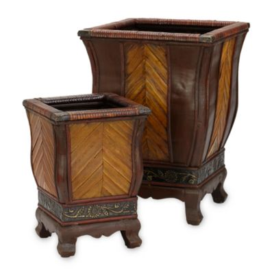 Nearly Natural Decorative Wood Planters (Set of 2)