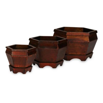Nearly Natural Wooden Hexagon Decorative Planters (Set of 3)
