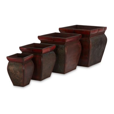 Nearly Natural Square Planters with Rims (Set of 4)