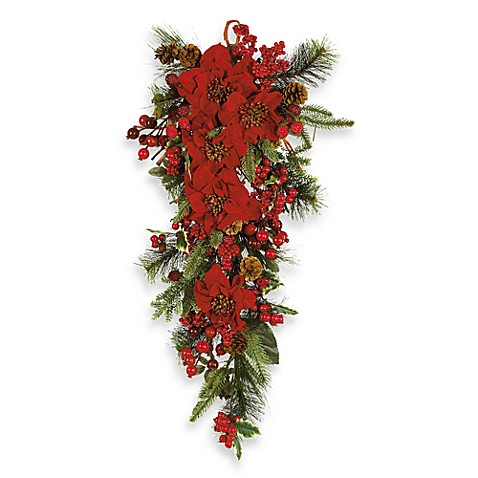 Nearly Natural Poinsettia Teardrop Silk Wall Hanging