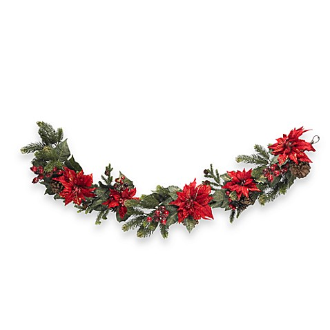 Nearly Natural 60-Inch Poinsettia & Berry Garland