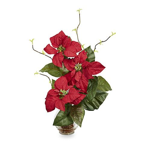 Nearly Natural Poinsettia Silk Flower Arrangement in a Fluted Vase