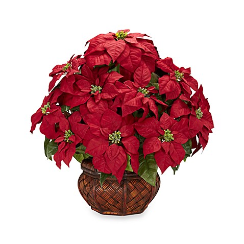 Nearly Natural Poinsettia w/ Basket Weave Planter Silk Arrangement