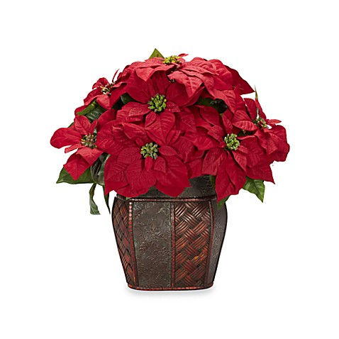 Nearly Natural Silk Poinsettia with Decorative Basket Weave/  Faux Leather Planter