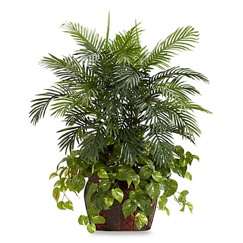 Nearly Natural 3 1/2-Foot Double Areca w/ Vase & Pothos Silk Plant