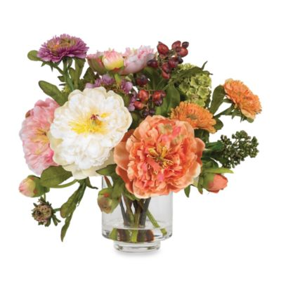 Nearly Natural Peony Silk Flower Arrangement
