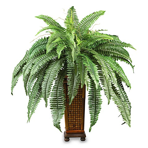 Nearly Natural Boston Fern with Decorative Wood Vase Silk Plant