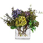 Nearly Natural Mixed Hydrangea with Rectangle Vase Silk Flower Arrangement