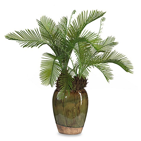Nearly Natural Cycas with Glazed Vase Silk Plant