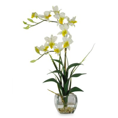 Nearly Natural Dendrobium Liquid Illusion Silk Flower Arrangement in Cream