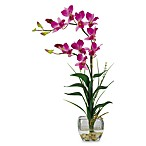 Nearly Natural Dendrobium Liquid Illusion Silk Flower Arrangement in Purple