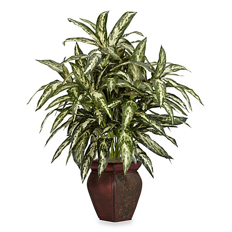 Nearly Natural Aglaonema w/ Decorative Vase Silk Plant