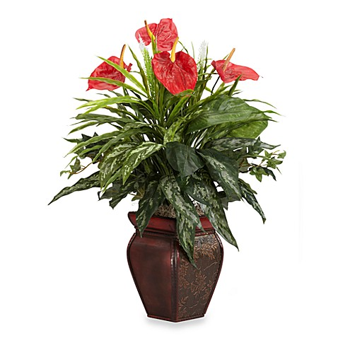 Nearly Natural Mixed Greens & Anthurium w/ Decorative Vase Silk Plant
