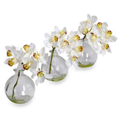 Nearly Natural Cymbidium w/ Vase Silk Flower Arrangement (Set of 3)