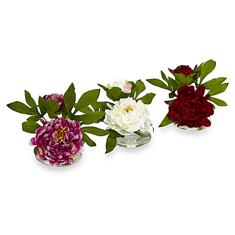 Nearly Natural Peony w/ Glass Vase (Set of 3)