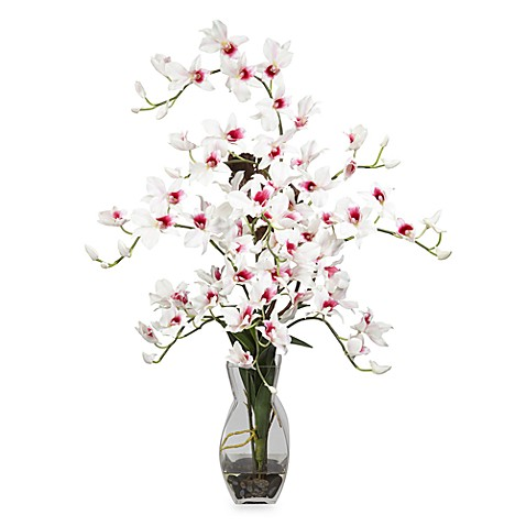 Nearly Natural Dendrobium w/ Vase Silk Flower Arrangement in White