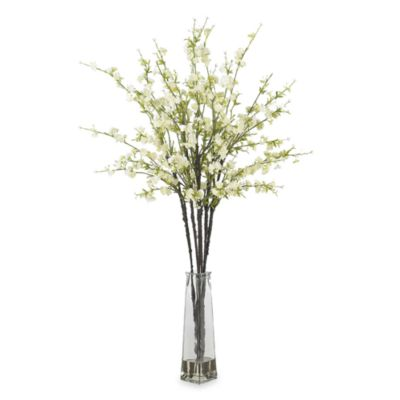 Nearly Natural Cherry Blossoms w/ Vase Silk Flower Arrangement in White