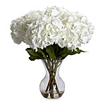 Nearly Natural Large Hydrangea w/ Vase Silk Flower Arrangement