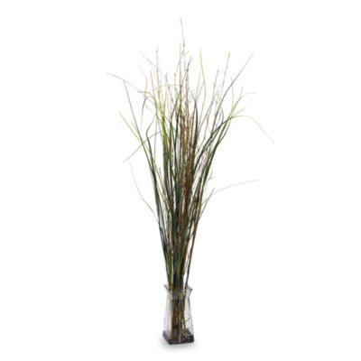 Nearly Natural Grass & Bamboo w/ Glass Vase Silk Plant