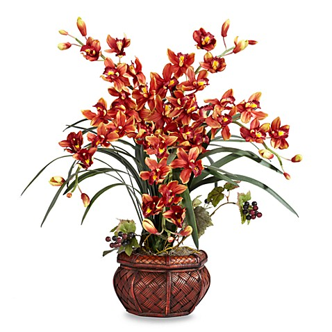 Nearly Natural Cymbidium w/ Decorative Vase Silk Arrangement - Burgundy