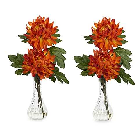Nearly Natural Mum w/ Bud Vase Silk Flower Arrangement (Set of 2)