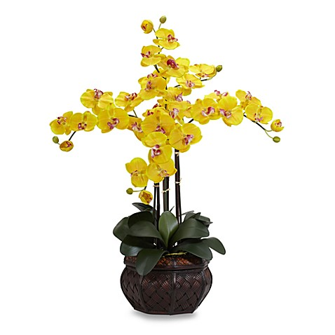 Nearly Natural Phalaenopsis w/ Decorative Vase Silk Flower Arrangement - Yellow