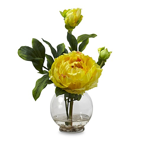 Nearly Natural Peony with Fluted Vase Silk Flower Arrangement - Yellow