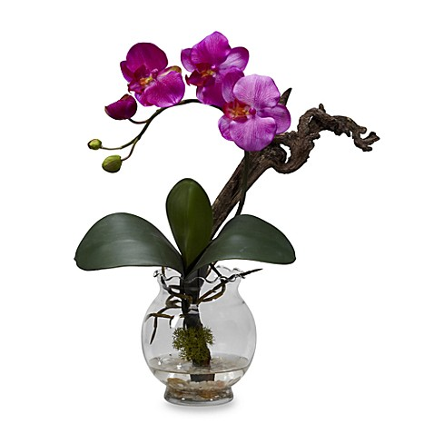 Nearly Natural Mini Phalaenopsis with Fluted Vase Silk Flower Arrangement in Purple