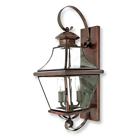 Quoizel Carleton 3-Light Wall-Mounted Outdoor Fixture in Aged Copper