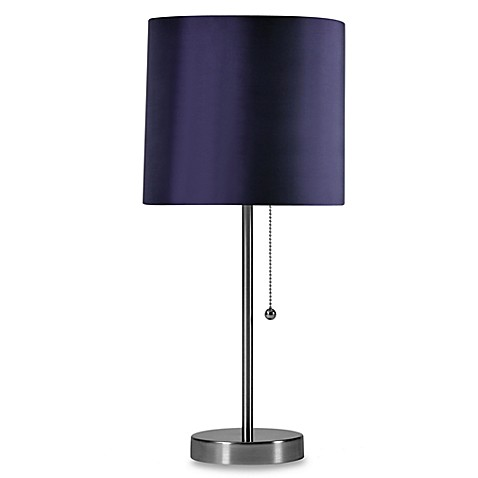 Brushed Steel Table Lamp with Plum Shade