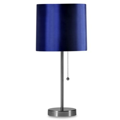 Brushed Steel Table Lamp with Navy Shade