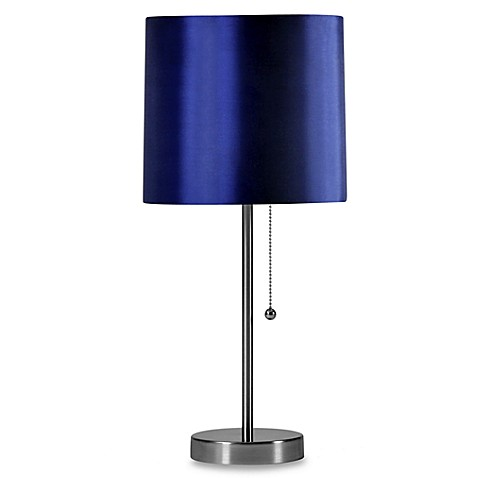 Brushed Steel Table Lamp with Navy Shade and CFL Bulb