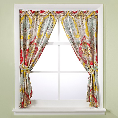 Echo design jaipur bath window curtain panel pair bed for Bathroom window curtains