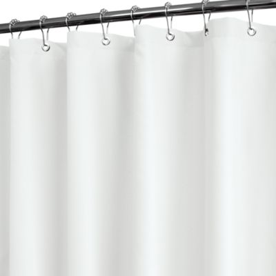 Solid White Fabric Shower Curtain