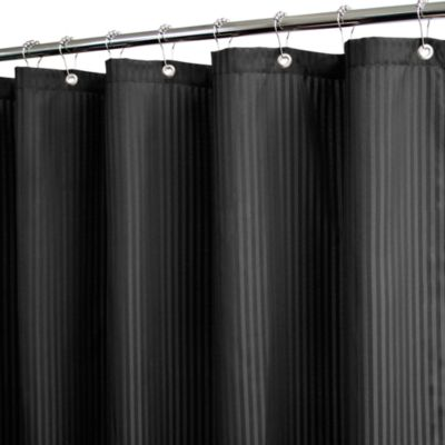 Park B. Smith® Satin Stripe Black 72-Inch x 72-Inch Watershed® Shower Curtain