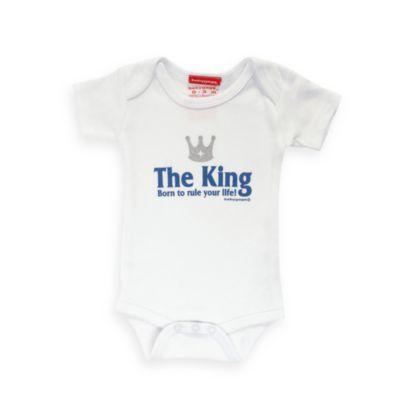 Silly Souls® The King: Born to Rule Your Life Size 6-12 months Bodysuit in White