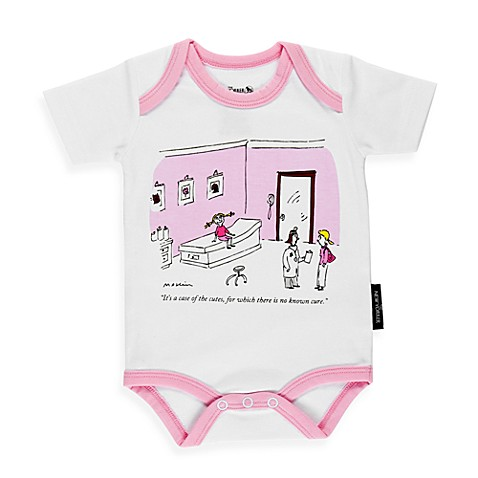 Silly Souls® Case of the Cutes - Bodysuit - 6-12 months (White with Pink Edging)