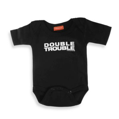 Silly Souls® Double Trouble Size 6-12 months Bodysuit in Black and White