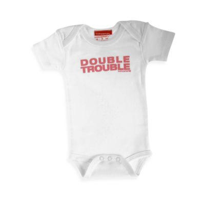 Silly Souls® Double Trouble Size 3-6 months Bodysuit in White and Red