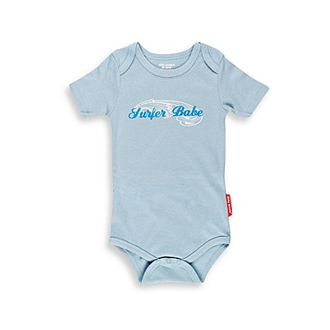 Silly Souls® Size 3-6 Months Surfer Babe Bodysuit in Blue