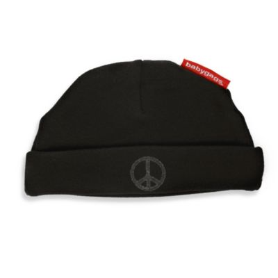 Silly Souls® Peace Size Newborn-6 months Beanie in Black