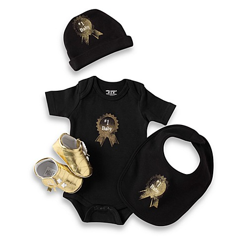 Silly Souls® #1 Baby - 4-Piece Gift Set - 3-6 months (Black)