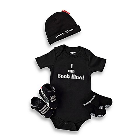 Silly Souls® Boob Man - 4-Piece Gift Set - 3-6 months (Black)