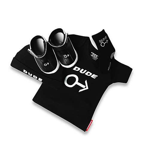 Silly Souls® Dude - 4-Piece Gift Set - 0-3 months (Black)