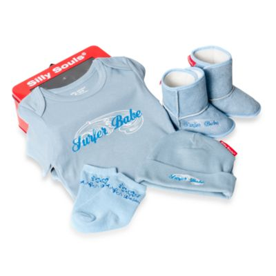 Silly Souls® Surfer Babe Size Newborn-3 Months 4-Piece Gift Set in Blue