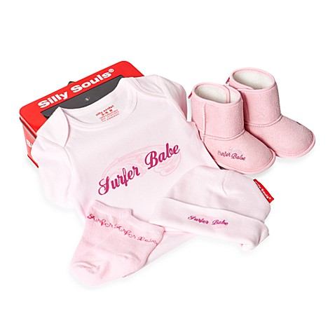 Silly Souls® Newborn - 3 Months Surfer Babe 4-Piece Gift Set in Pink