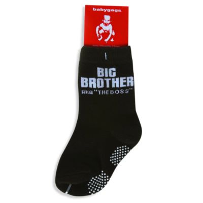 Silly Souls® Big Brother: AKA The Boss Black Socks - 2-3T
